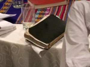 Guido's father, Benjamin, has a New Testament which is showing its years of wear.