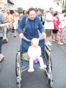 Mrs. Nilsa was a tricker!  ;)  That wheelchair was supposed to be for her, but when we turned around she was popping Jovelle in it and pushing her around!