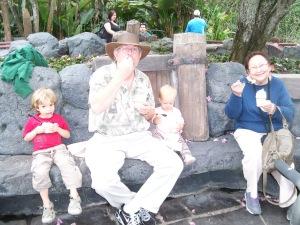 Enjoying one of her favorites, Dole Pineapple Whip, at Disney